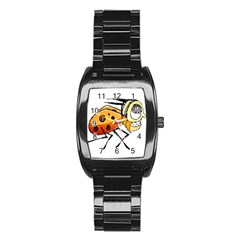Funny Bug Running Hand Drawn Illustration Stainless Steel Barrel Watch by dflcprints