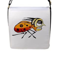Funny Bug Running Hand Drawn Illustration Flap Closure Messenger Bag (large) by dflcprints