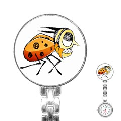 Funny Bug Running Hand Drawn Illustration Stainless Steel Nurses Watch by dflcprints