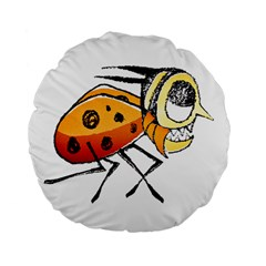 Funny Bug Running Hand Drawn Illustration 15  Premium Flano Round Cushion  by dflcprints