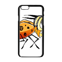 Funny Bug Running Hand Drawn Illustration Apple Iphone 6 Black Enamel Case by dflcprints