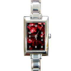 Red Flowers Bouquet In Black Background Photography Rectangular Italian Charm Watch by dflcprints