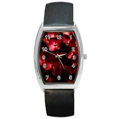 Red Flowers Bouquet In Black Background Photography Tonneau Leather Watch by dflcprints
