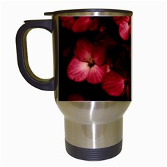 Red Flowers Bouquet In Black Background Photography Travel Mug (white) by dflcprints