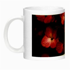 Red Flowers Bouquet In Black Background Photography Glow In The Dark Mug by dflcprints