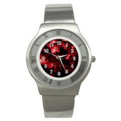 Red Flowers Bouquet In Black Background Photography Stainless Steel Watch (slim) by dflcprints