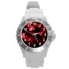 Red Flowers Bouquet In Black Background Photography Plastic Sport Watch (large) by dflcprints