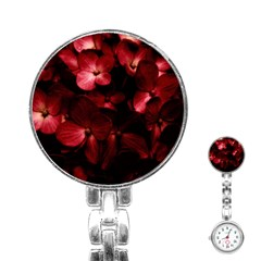 Red Flowers Bouquet In Black Background Photography Stainless Steel Nurses Watch by dflcprints