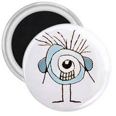 Cute Weird Caricature Illustration 3  Button Magnet by dflcprints