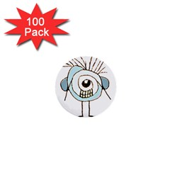 Cute Weird Caricature Illustration 1  Mini Button (100 Pack) by dflcprints