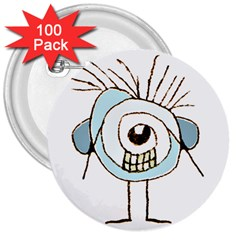 Cute Weird Caricature Illustration 3  Button (100 Pack) by dflcprints