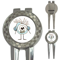 Cute Weird Caricature Illustration Golf Pitchfork & Ball Marker by dflcprints
