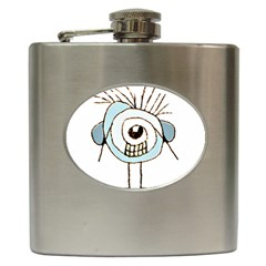 Cute Weird Caricature Illustration Hip Flask by dflcprints