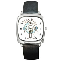 Cute Weird Caricature Illustration Square Leather Watch by dflcprints