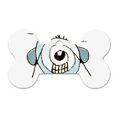 Cute Weird Caricature Illustration Dog Tag Bone (two Sided) by dflcprints