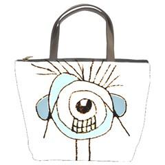 Cute Weird Caricature Illustration Bucket Handbag by dflcprints