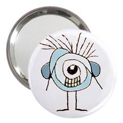 Cute Weird Caricature Illustration 3  Handbag Mirror by dflcprints