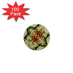 Floral Motif Print Pattern Collage 1  Mini Button Magnet (100 Pack)