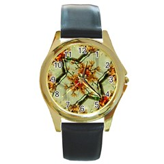 Floral Motif Print Pattern Collage Round Leather Watch (gold Rim)  by dflcprints