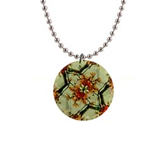 Floral Motif Print Pattern Collage Button Necklace by dflcprints