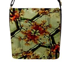 Floral Motif Print Pattern Collage Flap Closure Messenger Bag (large) by dflcprints