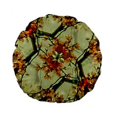 Floral Motif Print Pattern Collage 15  Premium Flano Round Cushion  by dflcprints