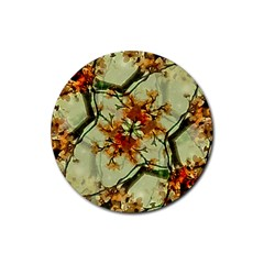 Floral Motif Print Pattern Collage Drink Coasters 4 Pack (round) by dflcprints