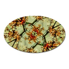 Floral Motif Print Pattern Collage Magnet (oval) by dflcprints