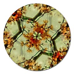 Floral Motif Print Pattern Collage Magnet 5  (round) by dflcprints
