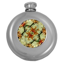Floral Motif Print Pattern Collage Hip Flask (round) by dflcprints