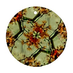 Floral Motif Print Pattern Collage Round Ornament (two Sides) by dflcprints