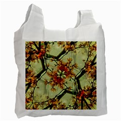 Floral Motif Print Pattern Collage White Reusable Bag (one Side) by dflcprints