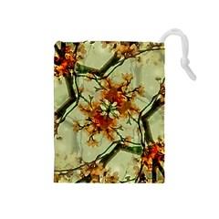 Floral Motif Print Pattern Collage Drawstring Pouch (medium) by dflcprints