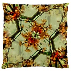 Floral Motif Print Pattern Collage Large Flano Cushion Case (two Sides) by dflcprints