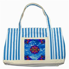 Sky Horizon Blue Striped Tote Bag by icarusismartdesigns