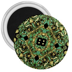 Luxury Abstract Golden Grunge Art 3  Button Magnet by dflcprints