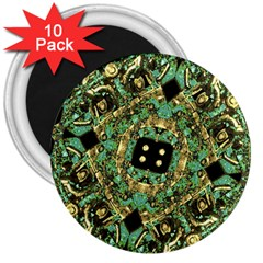Luxury Abstract Golden Grunge Art 3  Button Magnet (10 Pack) by dflcprints