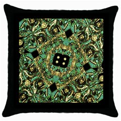 Luxury Abstract Golden Grunge Art Black Throw Pillow Case by dflcprints