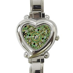 Luxury Abstract Golden Grunge Art Heart Italian Charm Watch  by dflcprints