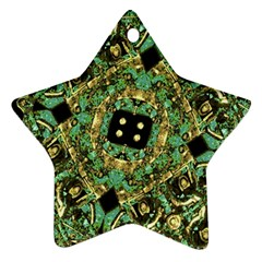Luxury Abstract Golden Grunge Art Star Ornament (two Sides) by dflcprints