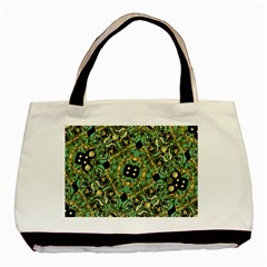 Luxury Abstract Golden Grunge Art Twin Sided Black Tote Bag by dflcprints