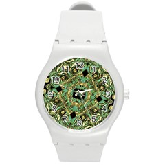 Luxury Abstract Golden Grunge Art Plastic Sport Watch (medium) by dflcprints
