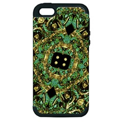 Luxury Abstract Golden Grunge Art Apple Iphone 5 Hardshell Case (pc+silicone) by dflcprints