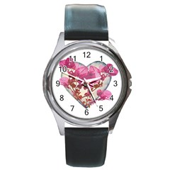 Heart Shaped With Flowers Digital Collage Round Leather Watch (silver Rim) by dflcprints