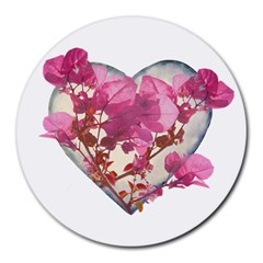 Heart Shaped With Flowers Digital Collage 8  Mouse Pad (round) by dflcprints