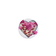 Heart Shaped With Flowers Digital Collage 1  Mini Button by dflcprints