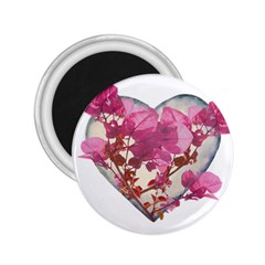 Heart Shaped With Flowers Digital Collage 2 25  Button Magnet by dflcprints