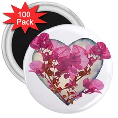 Heart Shaped With Flowers Digital Collage 3  Button Magnet (100 Pack) by dflcprints