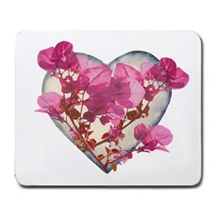 Heart Shaped With Flowers Digital Collage Large Mouse Pad (rectangle) by dflcprints