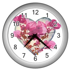 Heart Shaped With Flowers Digital Collage Wall Clock (silver) by dflcprints